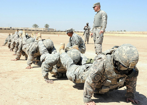 soldiers push ups