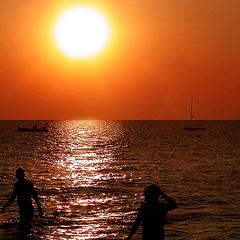 sunset evening swim